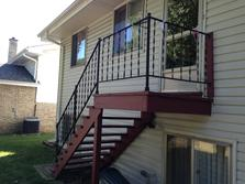 Lemont, Illinois rear landing and staircase. A-Affordable Decks of Lombard