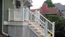 (After) Lombard, Illinois porch with cedar decking and white PVC railing - A-Affordable Decks www.dupagedecks.com