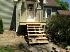 (Before) Lombard, Illinois porch has been removed and new frame in place. www.dupagedecks.com