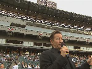 DuPage Decks owner Frank, singing on field at US Cellular Field 2016