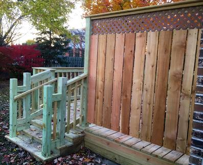 Darien deck with a combination of pressure treated and cedar (privacy screen) used. A Affordable Decks Lombard Illinois deck contractor