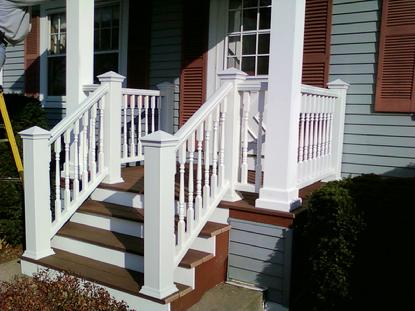 Front porch made of Trex with artisan rail. Villa Park