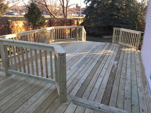 Two-level wood deck in West Chicago 2017 dupagedecks.com