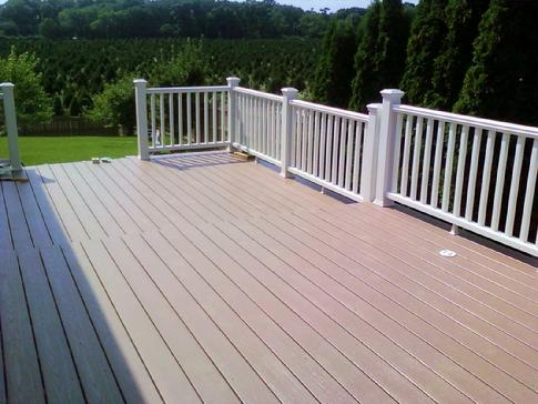 Rail and floor complete! Trex Transcends (white) railing. Planking is AZEK PVC Sedona. A-Affordable Decks in Lombard Illinois builds quality decks in Woodridge. For a no obligation in-home consultation phone 630-620-4130